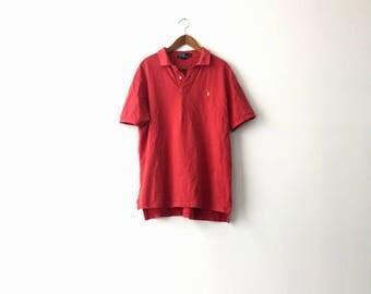 Basic Red 90s Polo Ralph Lauren Shirt - XL