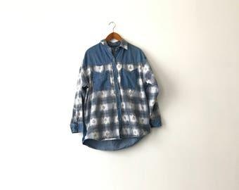 Denim & Flannel Button Shirt - M