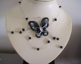 Black Pearl Butterfly Necklace silver / black bridal wedding evening ceremony Christmas