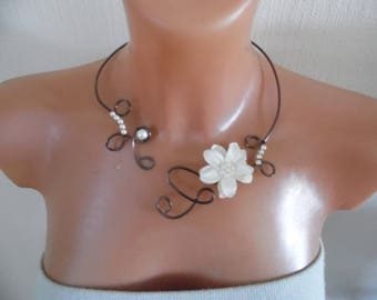 Bridal necklace wedding party holiday aluminum wire Brown flower ivory beaded satin maid of honor ceremony