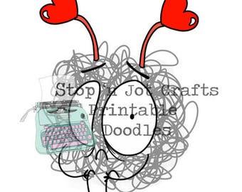 Valentine's Day Anxiety Buddy Printable Clip Art