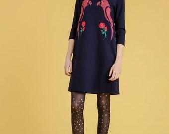 Plus size dress/Blue dress/3XL dress/parrot/oversize dress/festival dress/short dress/3/4 sleeves