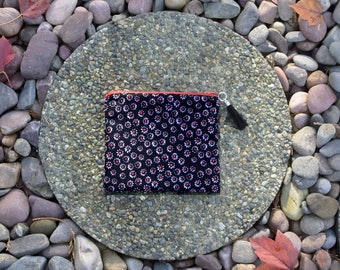 Black OR Brown Floral Zipper Pouch