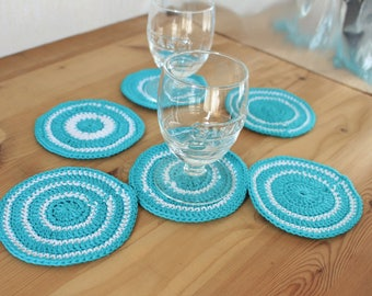 Crochet coasters Turquoise Coasters kitchen decor Drink coasters Lace coasters Crochet doilies Round doilies Summer gift for women gift