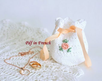 DIY Crochet pattern PDF in French pattern Crochet bag pattern Crochet Jewelry bag pattern Crochet tutorial arm knitting pattern Crochet gift