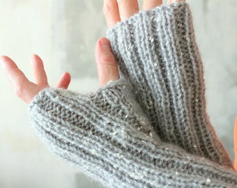 Knit mittens Knit gift sister mitts Knitted long mittens Warm fingerless gloves Hand knit hand warmers Mittens Winter wedding Gift for bride