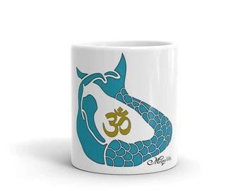 OM mermaid pose yoga coffee tea mug