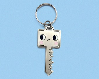 Matte Silver Sad Key Face Key Chain! Hard Enamel Key Chain!