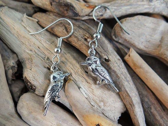 Gorgeous Kookaburra Kingfisher Pewter Earrings  Australia Australian Animal Australiana Earring Ear Ring Rings