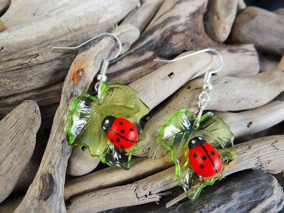 Ladybug Earrings Lady Bug Ladybird Lady Bird Ladybeetle Lady Beetle Leaf Leaves Earring Ear Ring Rings Earings Cute Kawaii
