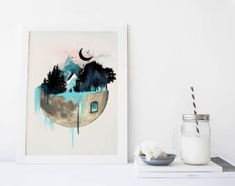 Moon wall art, art print, watercolor poster, nature print, modern blue print, home wall decor, apartment wall art, fantasy, forest wall art