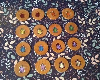Matching Turtles Game Set, Memory, Matching Game, goodie bag, wooden, wood, natural, eco friendly, stocking stuffer, Waldorf, Montessori