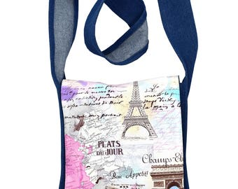 Retro Paris Themed Handbag. Messenger style shoulder bag, the perfect gift idea for Birthdays, Mothers Day or for any lover of Travel.