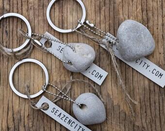 Steel Key Chain with Holey Stone - Stocking Stuffers for Men - Hag Stone Key Ring - Rustic Wabi-Sabi Charm - Small Gift - Baltic Sea Pebbles