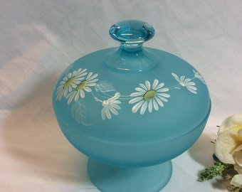 Vintage Westmoreland Glass Blue Turquoise Satin Footed Candy Dish With Lid Hand Daisies!  Birthday! Housewarming! Mothers Day!