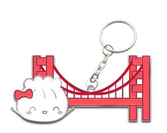 "Dimsum Keychain - ""San Francisco Dumpling"" [Golden Gate, San Francisco Keychain] // ""Dimsum Around the World"" Collection"
