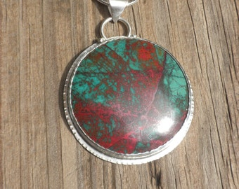 Large Sonora Sunset Chrysocolla Pendant, Reversible, Silver, Green, Red, Chrysocolla, Cuprite, Round, Landscape, Pendant
