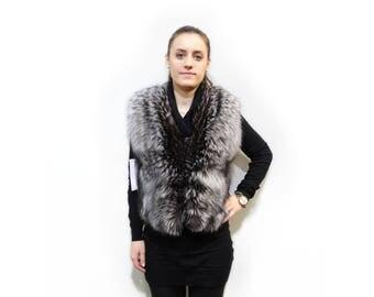 Real fur, silverfox vest F417