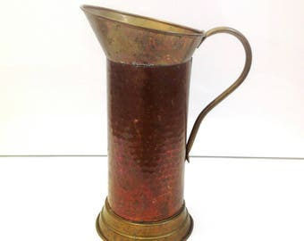 vintage french brass and copper pitcher, antique copper jug, french home decor, copper kitchen, french house