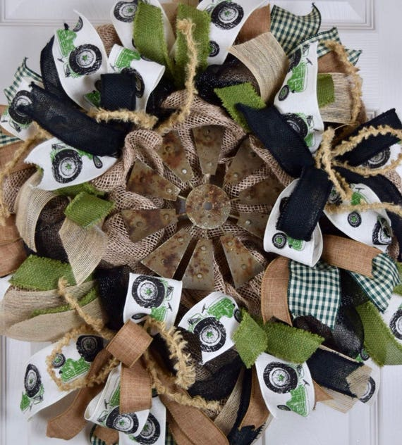 Farm Windmill and Tractor Burlap and Mesh Wreath; Country Wreath; Southern Country Decor; Rustic Primitive Green Brown Black Decor Wreath