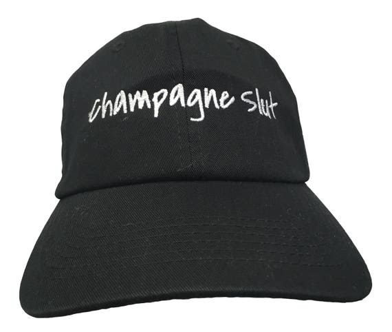 Champagne Slut- Polo Style Ball Cap - Black with White Stitching