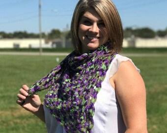 Crochet shawl, summer shawl, thread shawl, lace shawl, viral shawl, handmade shawl, purple, green, gift for her, crochet lace shawl