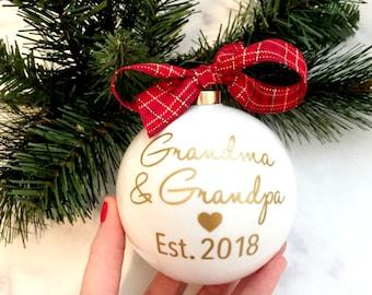 Pregnancy Announcement Christmas Ornaments, Grandma & Grandpa Christmas Ornaments