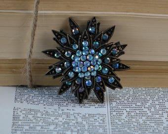 Vintage Blue Flower BROOCH - Blue Rhinestone  Brooch