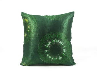 Vlisco Aura wax print-African fabric-Ankara-cushion cover-Pillow cover-15 inch-lurex-Eye-Greenery Green-Ivory-Green Metalic-Shimmer