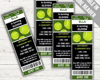 Tennis Party Invitations. Editable PDF. Printable. Instant Download.