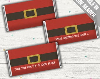 Santa Candy Wrappers (Christmas Candy Bar Wrappers). Editable. Instant download.