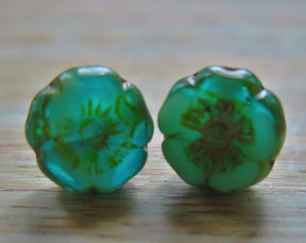 Teal Green, Czech Glass Earrings, Stud, surgical steal post, Czech Flower, etched glass, handmade, hand crafted, 12mm