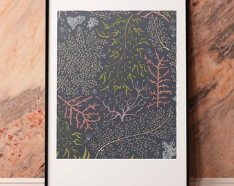 Coral Garden Art Print | 8x10 | Organic, floral, seaweed, ocean, flowers, hand-drawn, scientific, pattern, under water, sea themed