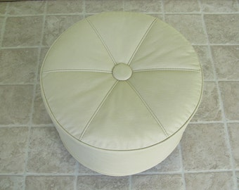 Ottoman with Wheels, Vintage Foot Stool, Hassock, Beige Faux Leather, Off White Vinyl, Rolling Pouff Seating