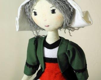 Snipe, artist doll, Handmade Doll, Rag Doll, Textile Doll Art Doll - Green - rag doll, Ooak art doll handmade