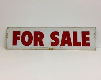 Vintage Metal Sign/ Vintage For Sale Sign/ Vintage Shop Keeping/Vintage Sign