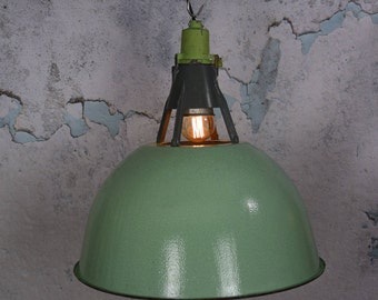 Vintage mint green industrial lights -  factory light - vintage enamel pendant - industrial lighting -  industrial pendant light