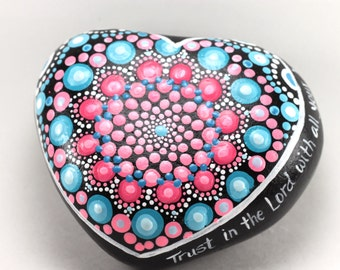 Mandala stone hand painted with scripture - hand painted mandala scripture stone - scripture mandala stone - garden decor mandala stone -