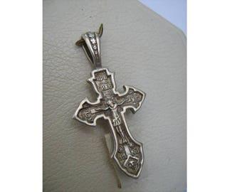 925 Sterling Silver Big Detailed Cross Pendant Crucifix Jesus Christ Inscription Saint Sergius of Radonezh Patron Icon Amulet Protector