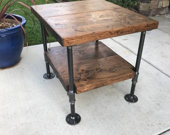 Bon Industrial Table, Industrial Nightstand, Industrial Decor, Steampunk Decor,  Rustic Nightstand, Pipe