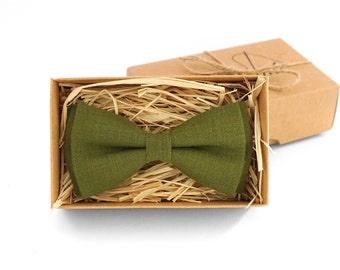 Moss bow tie, green bow tie, moss linen bow tie, boy bow tie, groomsmen bow tie, bow tie set, wedding bow tie, bow ties for men, cravate