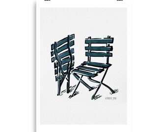 Twin Chairs In Blue. Art Print. Minimalist wall art