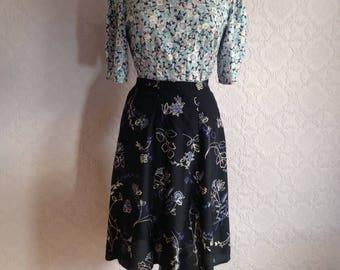 1940s Style High waist A-line Midi Skirt.  By Berkertex