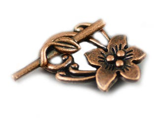 Toggle Clasp Peach Flower Design Antiqued Copper Lead Free 30x20mm - Two (2) Sets