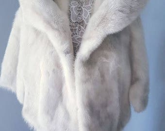 Luxury Vintage WHITE MINK Stole - AZURENE Fur Cape Capelet | Platinum Fur Stole | | Shawl  | Shrug  | Bolero | Wrap  | Bridal  - Real Fur