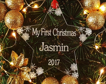 Personalised My First Christmas Snowflake Star Tree Decoration, Your 1st Xmas, Babys Personalized Engraved Bauble Ornament, Gift Bag