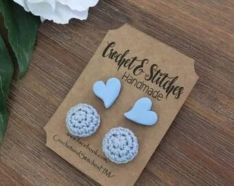 Signature Heart Earring Set ~ Polymerclay Earrings ~ Crochet Earrings