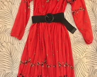 Hal Ferman Red & Black Vintage Flowered Secretary-Style Dress