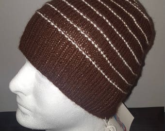 Brown With White Stripe Alpaca Hat