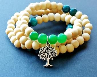 108 Fragrant Jade and Chrysocolla Tree of Life Mala Beads - buddhist mala beads, cystal mala beads, gemstone mala beads, spiritual jewellery